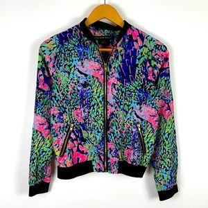 ✨3/$25✨SWS Retro Neon Pop Art Print Bomber Jacket
